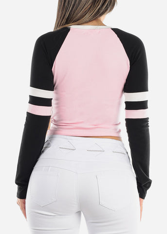 Long Sleeve Pink Colorblock Top