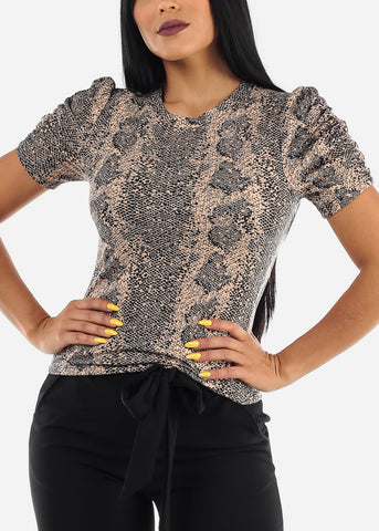 Ruched Sleeves Snake Print Top