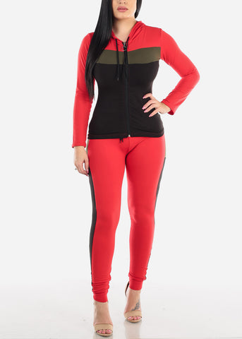Colorblock Red Zip Up Jacket & Pants (2 PCE SET)