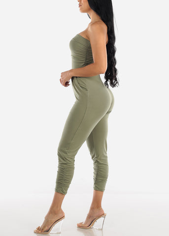 Image of Strapless Ruched Olive Jumpsuit