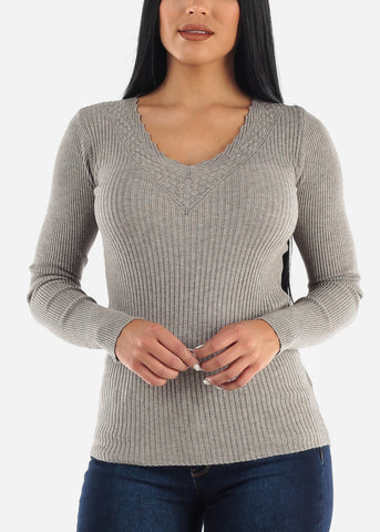 Image of Pretty Gray Ribbed Sweaters