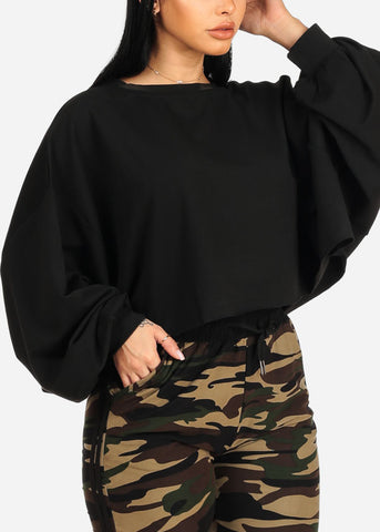 Oversized Black Cropped Sweater Top