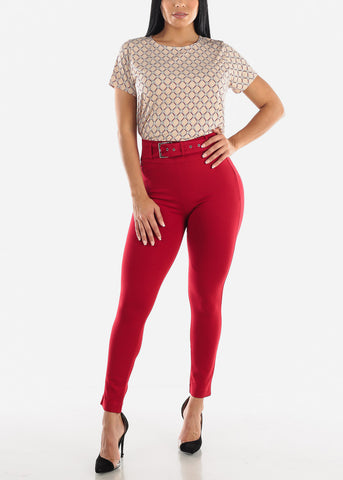 Belted Red Dress Pants