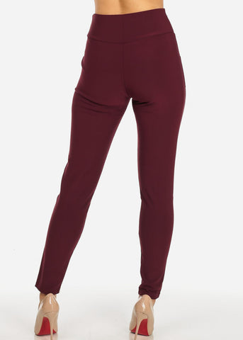 Image of One Size High Waist Burgundy Skinny Pants