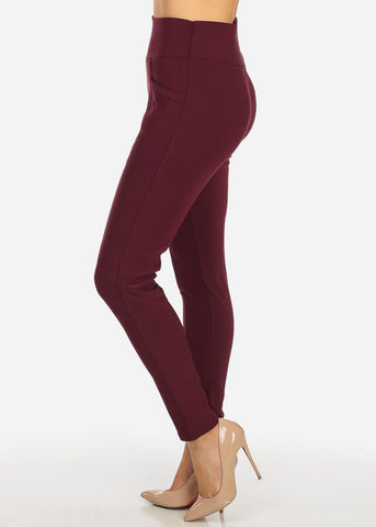 One Size High Waist Burgundy Skinny Pants