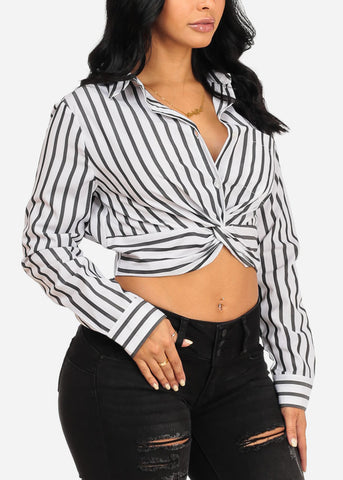 Image of Cute Button Up Stripe Crop Top