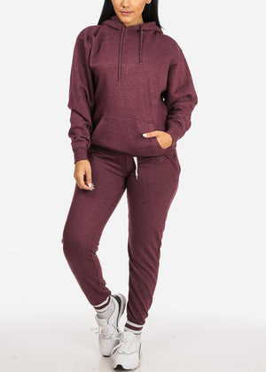 Burgundy High Rise Stripe Detail Jogger Pants