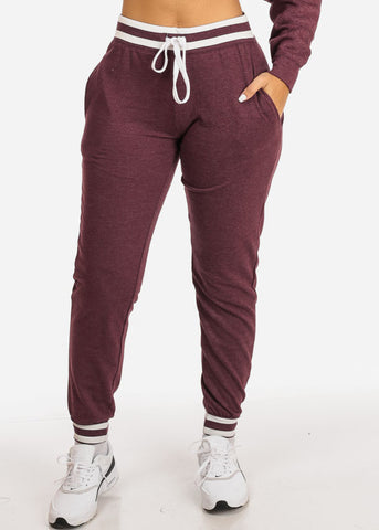 Image of Burgundy High Rise Stripe Detail Jogger Pants
