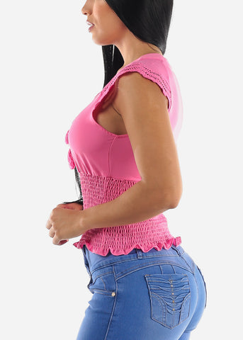 Image of Pink Spandex Waist Top