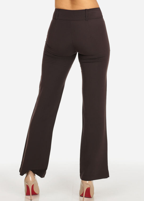 Evening Wear Brown High Waisted Pants