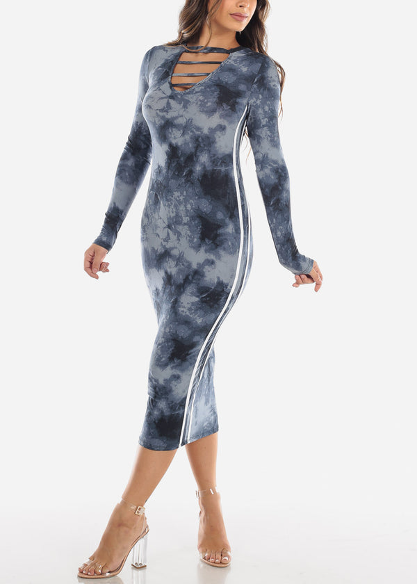 Strappy Tie Dye Navy Midi Dress