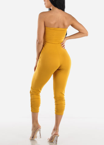 Image of Strapless Ruched Mustard Jumpsuit