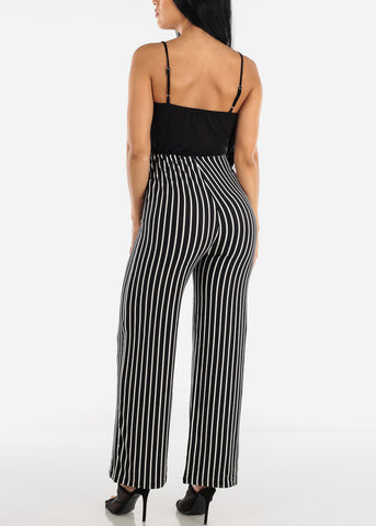 Image of Sleeveless Stripe Black Jumpsuit