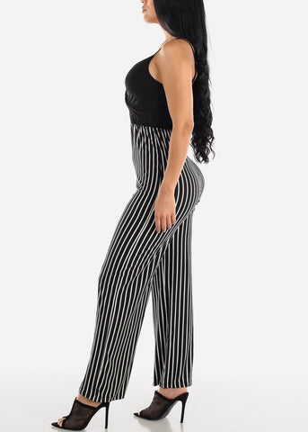 Sleeveless Stripe Black Jumpsuit