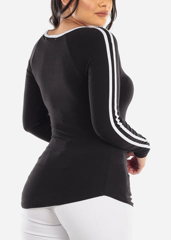 Image of Long Sleeve Stripe  Black Top