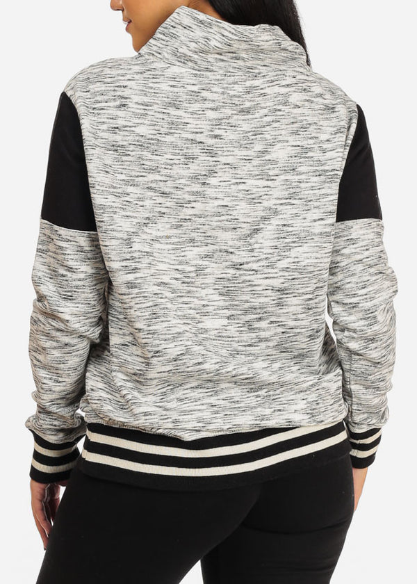 Grey Quarter Zip Up Sweater