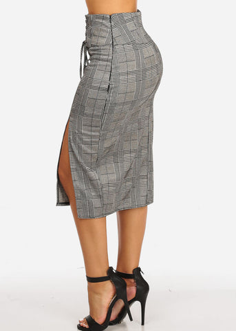 Image of High Rise Houndstooth Print Skirt