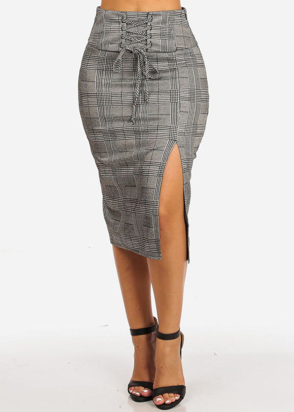 High Rise Houndstooth Print Skirt