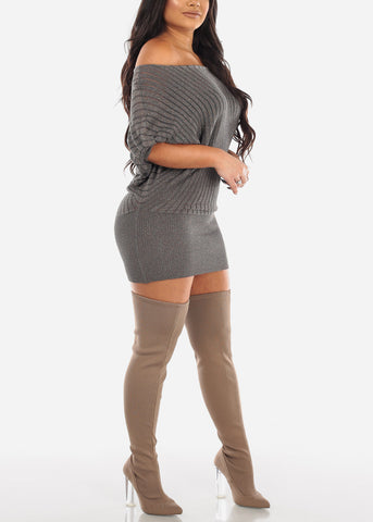 Image of Glitter Mocha Sweater Mini Dress