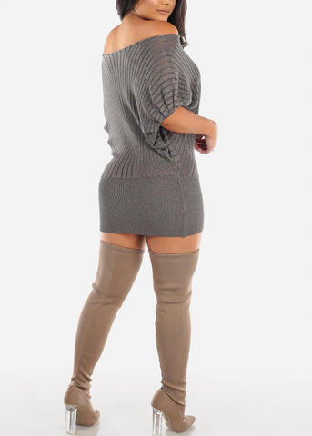 Glitter Mocha Sweater Mini Dress