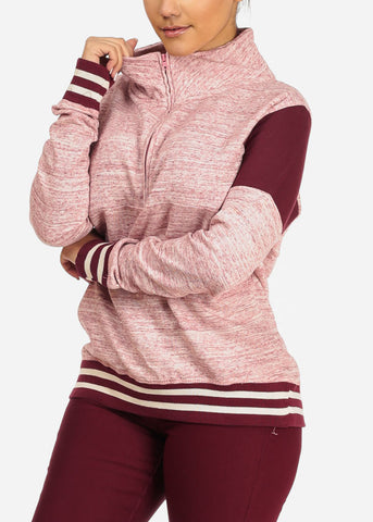 Rose Quarter Zip Up Sweater