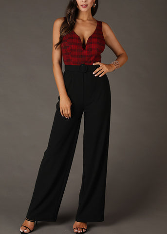 Image of Black & Red Plaid Print Jumpsuit
