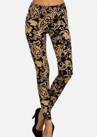 Activewear Black & Beige Floral Leggings