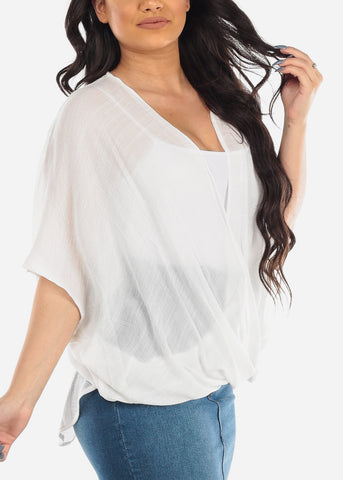 Women's Junior Ladies Summer Vacation Lightweight Short Sleeve Wrap Front High Low White Blouse Top
