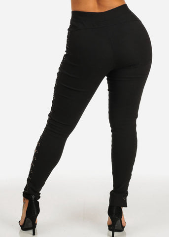 Black Side Lace Up Slim Fit Skinny Pants