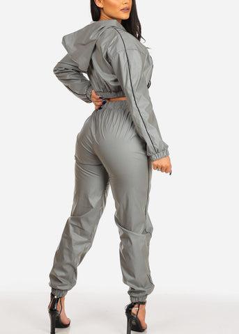Image of Women's Junior Ladies Work Out Sexy Reflective Windbreaker Grey Zipper Hoodie Crop Top With Hood And High Rise Grey Reflective Windbreaker Jogger Joggers Pants SET