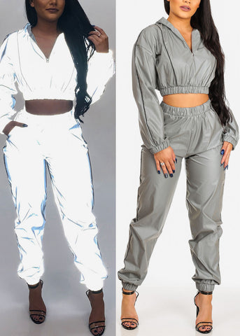 Women's Junior Ladies Work Out Sexy Reflective Windbreaker Grey Zipper Hoodie Crop Top With Hood And High Rise Grey Reflective Windbreaker Jogger Joggers Pants SET