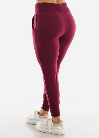 Burgundy High Waist Sweatpants