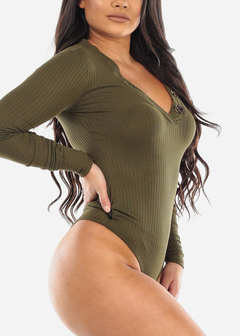Button Front Olive Long Sleeve Bodysuit