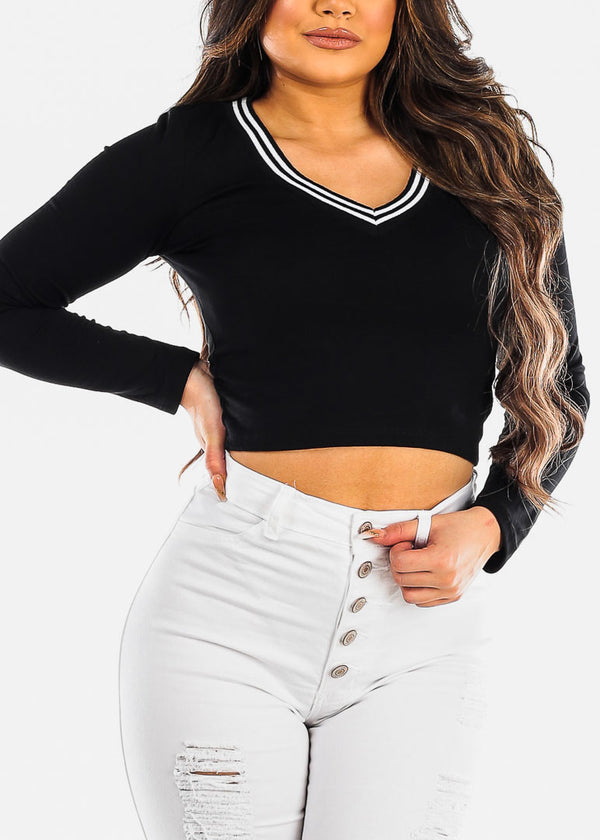 Stripe V Neck Black Top