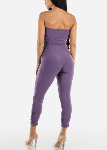 Strapless Ruched Purple Jumpsuit
