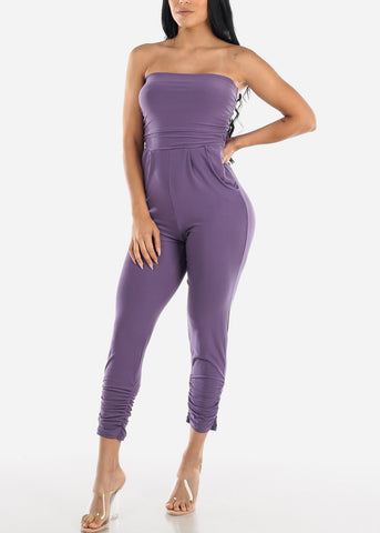 Image of Strapless Ruched Purple Jumpsuit
