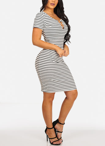 Sexy Casual  White Stripe Ring Inset V Neckline Bodycon Midi Dress