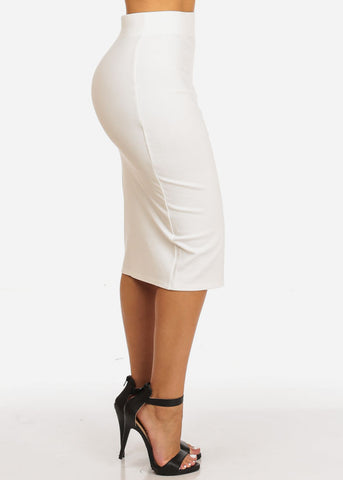 Image of High Rise Evening White Skirt