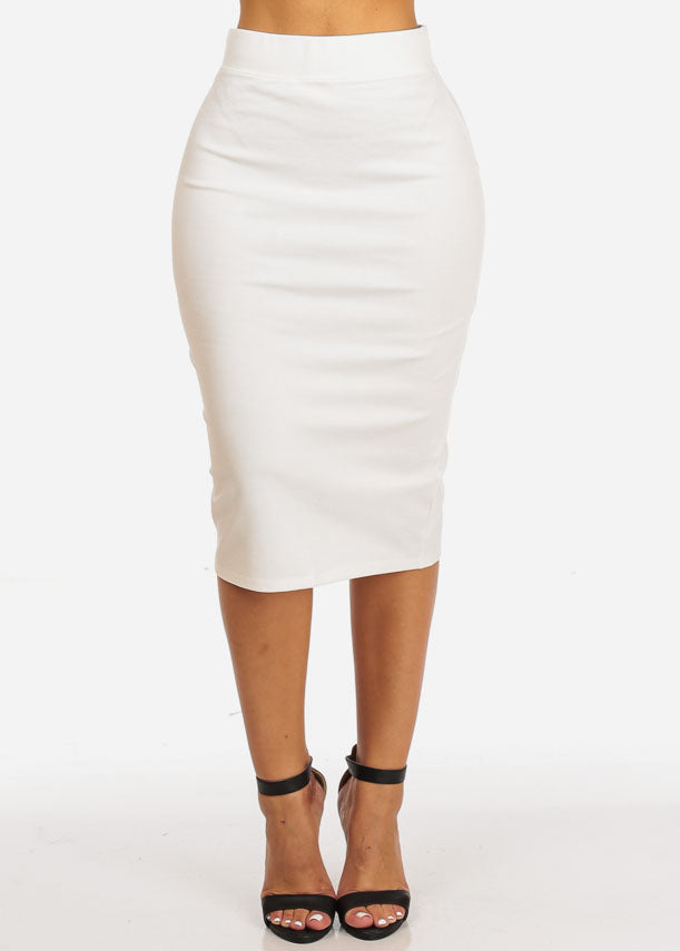 High Rise Evening White Skirt