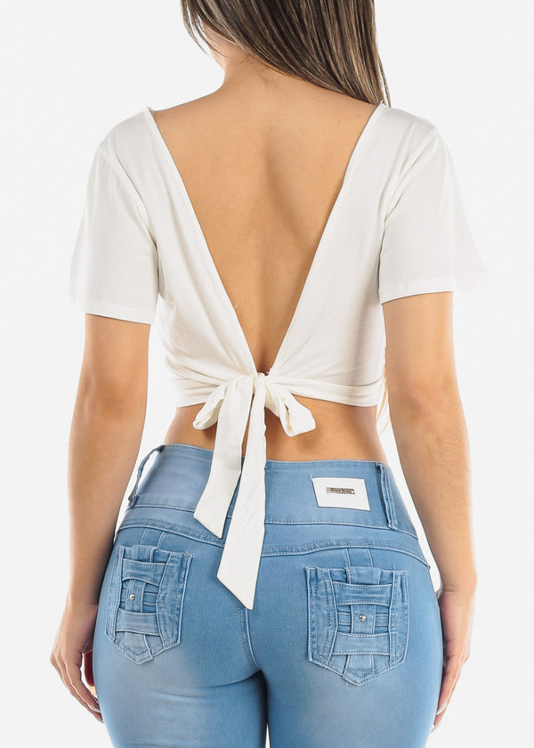 Wrap Front White Crop Top