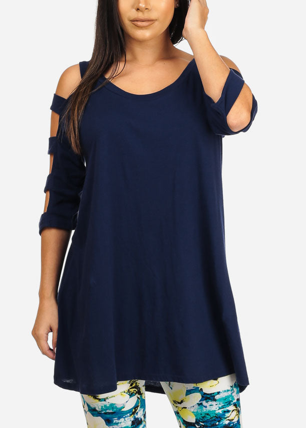 Cut out Navy Tunic Top