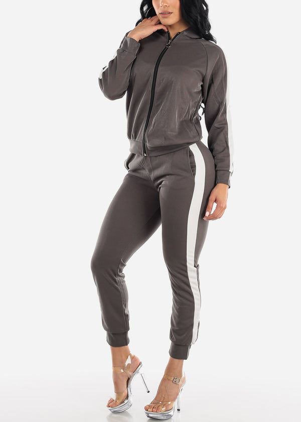 Activewear Grey Jacket & Pants (2 PCE SET)