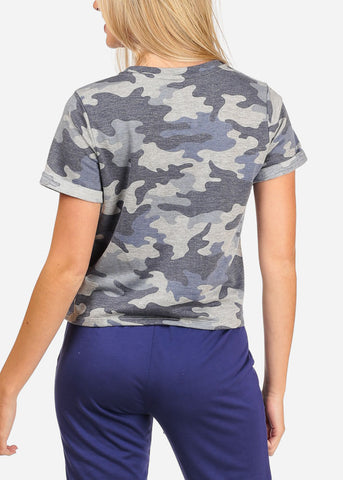 Women's Junior Casual Going Out Summer Camouflage Army Print T-Shirt Top