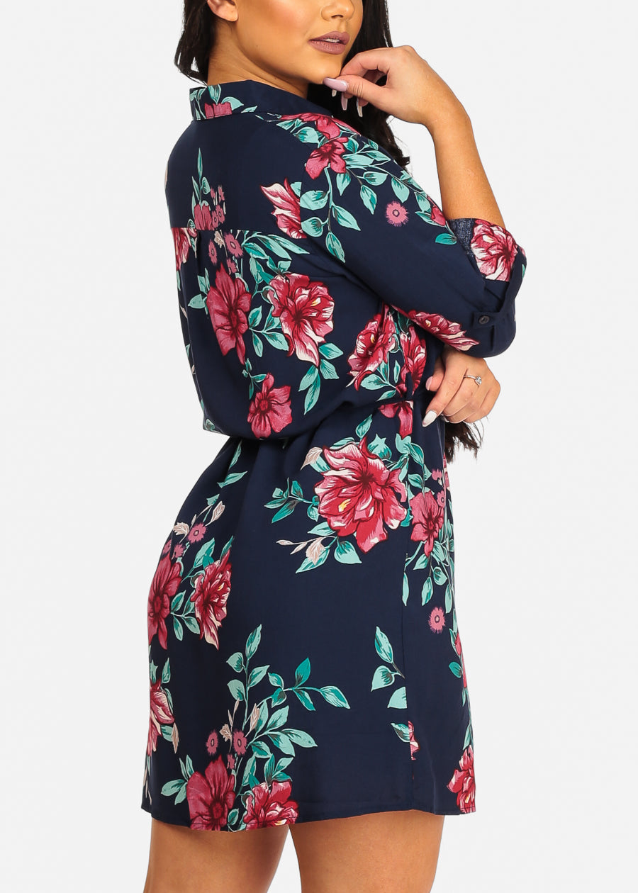 Casual Navy Floral Dress