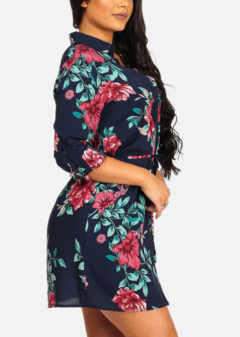 Image of Cute Casual Lightweight Navy Floral Print Dress W Tie Belt