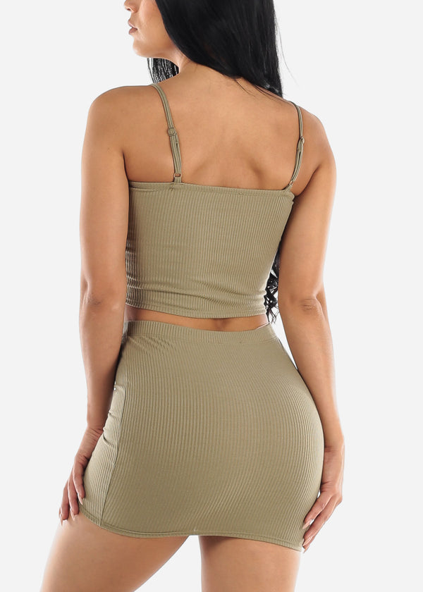 Olive Crop Top & Mini Skirt (2 PCE SET)