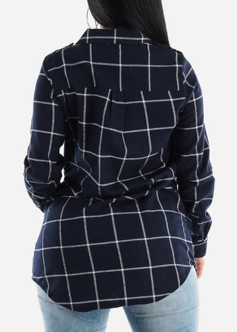Image of Navy Plaid Tunic Top