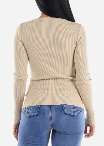 Image of Pretty Beige Ribbed Sweaters