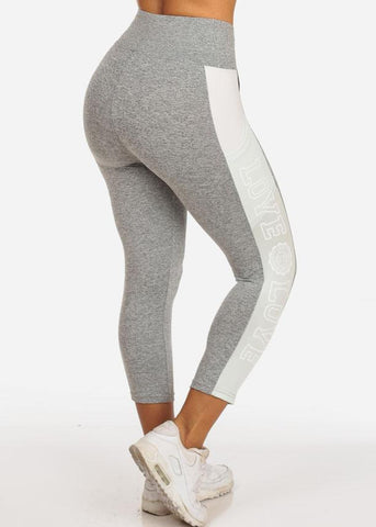 Image of Women's Activewear Training Work Out Stretchy Running Yoga  High Waisted Mint And Grey Cropped Capris Love Graphic Leggings Pants
