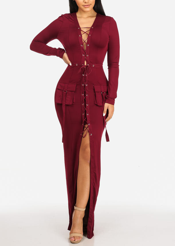Burgundy Lace Up Maxi Dress